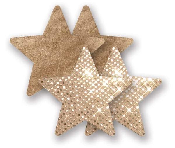Комплект из 1 пары золотистых пэстис-звездочек с блестками и 1 пары бежевых пэстис-звёздочек  с гладкой поверхностью
