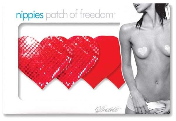 Комплект из 1 пары красных пэстис-сердечек с блестками и 1 пары красных пэстис-сердечек с гладкой поверхностью - фото 313061