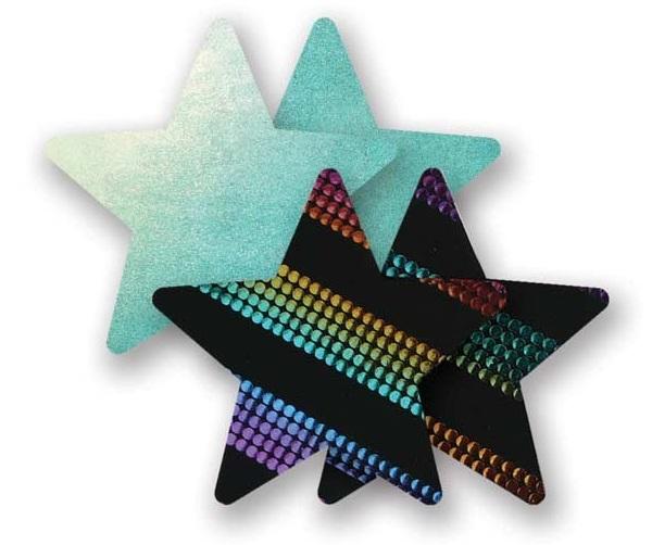 Комплект из 1 пары голубых пэстис-звездочек и 1 пары неоновых пэстис-звездочек в полоску - фото 313066