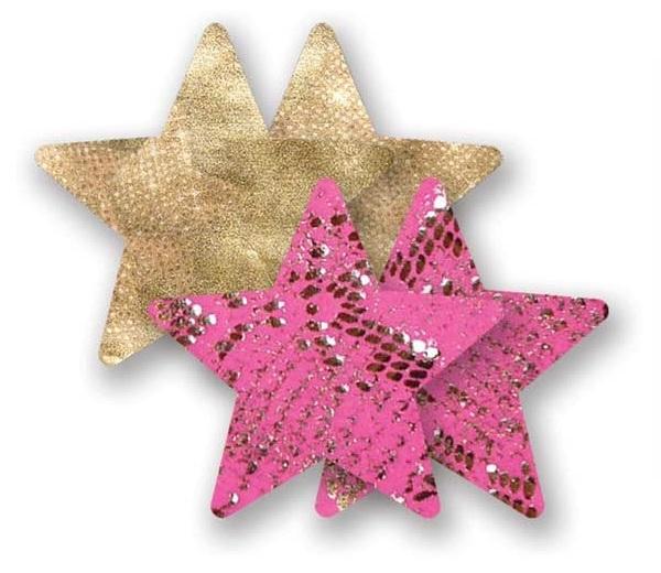 Комплект из 1 пары золотистых пэстис-звездочек и 1 пары розовых пэстис-звездочек со змеиным принтом - фото 238278