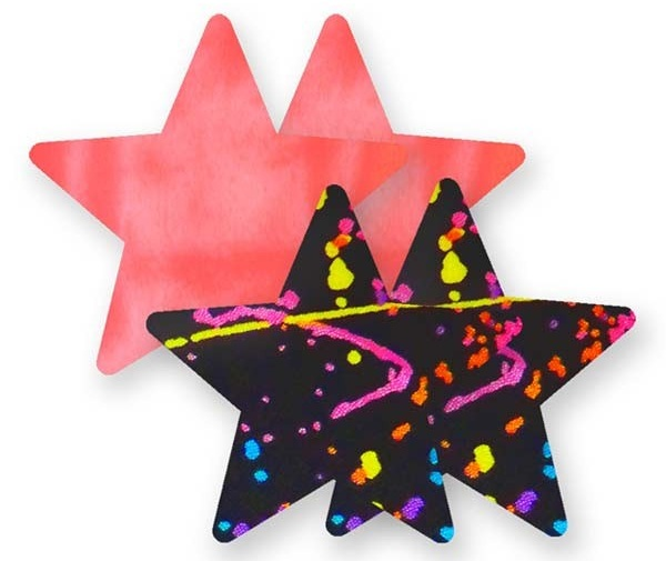 Комплект из 1 пары коралловых пэстис-звездочек и 1 пары черных пэстис-звездочек с разноцветными брызгами
