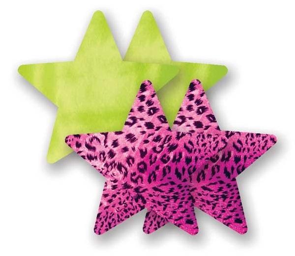 Комплект из 1 пары лаймовых пэстис-звездочек и 1 пары розовых пэстис-звездочек с леопардовым принтом - фото 702162
