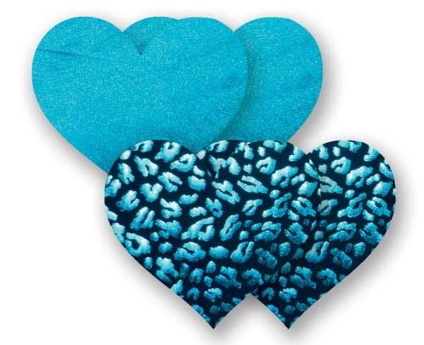 Комплект из 1 пары бирюзовых пэстис-сердечек и 1 пары черных пэстис-сердечек с леопардовым принтом - фото 702168