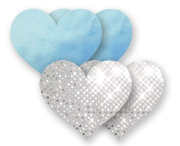 Комплект из 1 пары голубых пэстис-сердечек и 1 пары серебристых пэстис-сердечек с блёстками - фото 514902