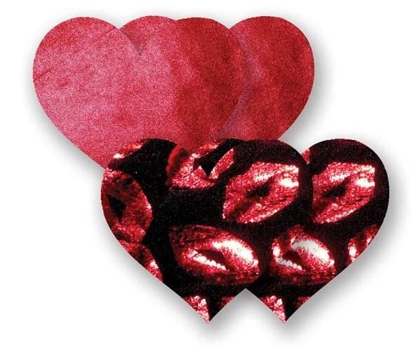 Комплект из 1 пары рубиновых пэстис-сердечек и 1 пары черных пэстис-сердечек с губками - фото 313082