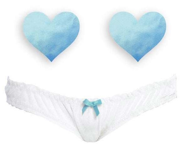 Комплект из 1 пары голубых пэстис-сердечек и белых трусиков с голубым бантиком