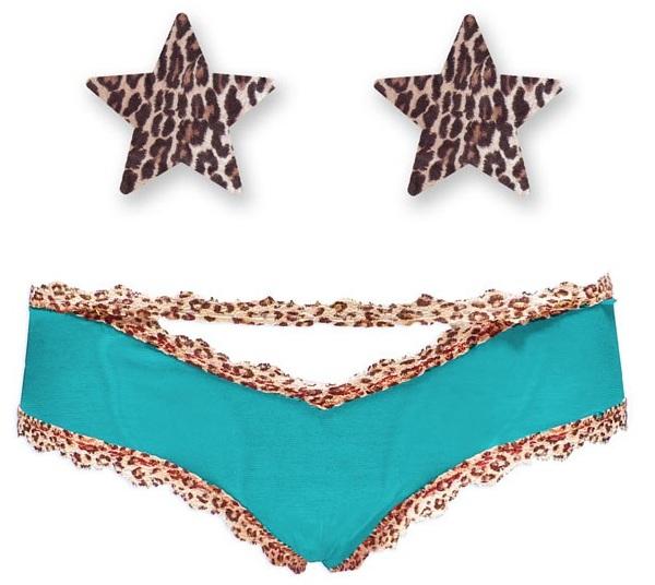 Комплект из 1 пары пэстис-звёздочек с леопардовым принтом и бирюзовых трусиков с леопардовым кантом