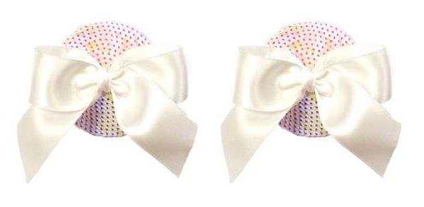 Светло-розовые пэстис с блестками и белыми бантиками