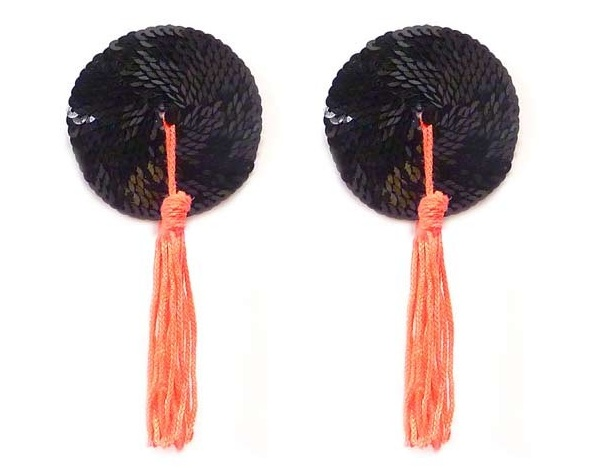 Черные пэстис с блестками и коралловыми кисточками