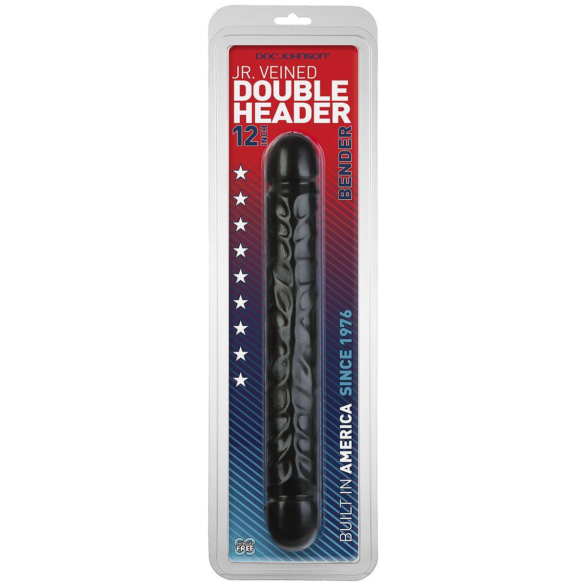 Черный двухголовый фаллоимитатор Jr. Veined Double Header 12  Bender - 30,5 см. - фото 4654