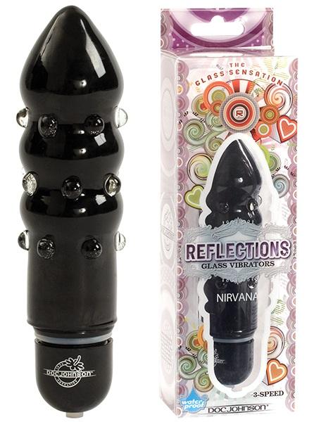 Черный вибратор из стекла REFLECTIONS NIRVANA - 12 см. - фото 238738