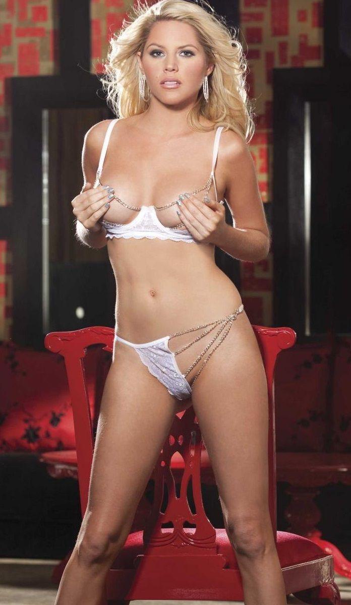 Комплект с открытой грудью и цепочками - фото 205830