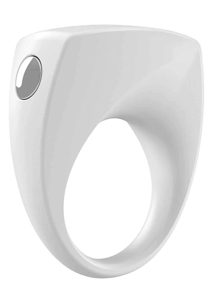 Белое эрекционное кольцо B6 с вибрацией - фото 704031