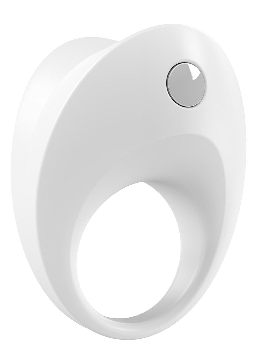 Белое эрекционное кольцо B10 с вибрацией - фото 704126