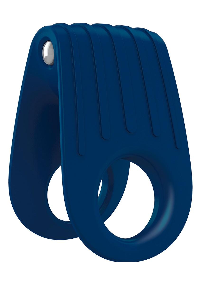 Двойное синее эрекционное виброкольцо B12 - фото 516998