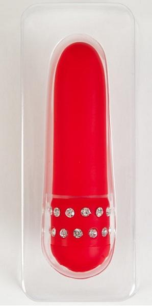 Красный вибратор с кристаллами - фото 239349