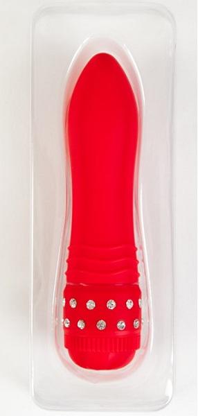 Стильный красный вибратор с кристаллами - фото 239365
