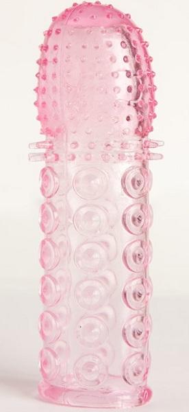 Гелевая розовая насадка с рельефом - 13,5 см.