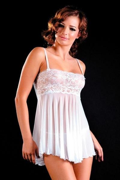 Белый комплект: сорочка и трусики-стринг - фото 313680