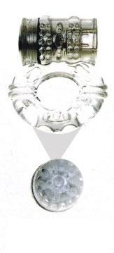Прозрачное эрекционное кольцо с вибратором и стимуляцией клитора - фото 633210