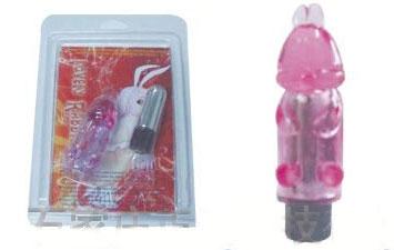Розовая вибропуля с насадкой Зайчонок - фото 207927