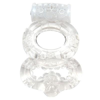 Прозрачное эрекционное кольцо с вибрацией Climax Gems Crystal Ring - фото 293939