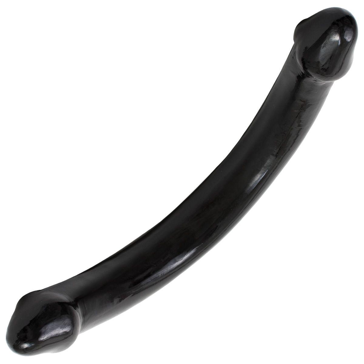 Черный двухголовый фаллоимитатор - 65 см. - фото 293955