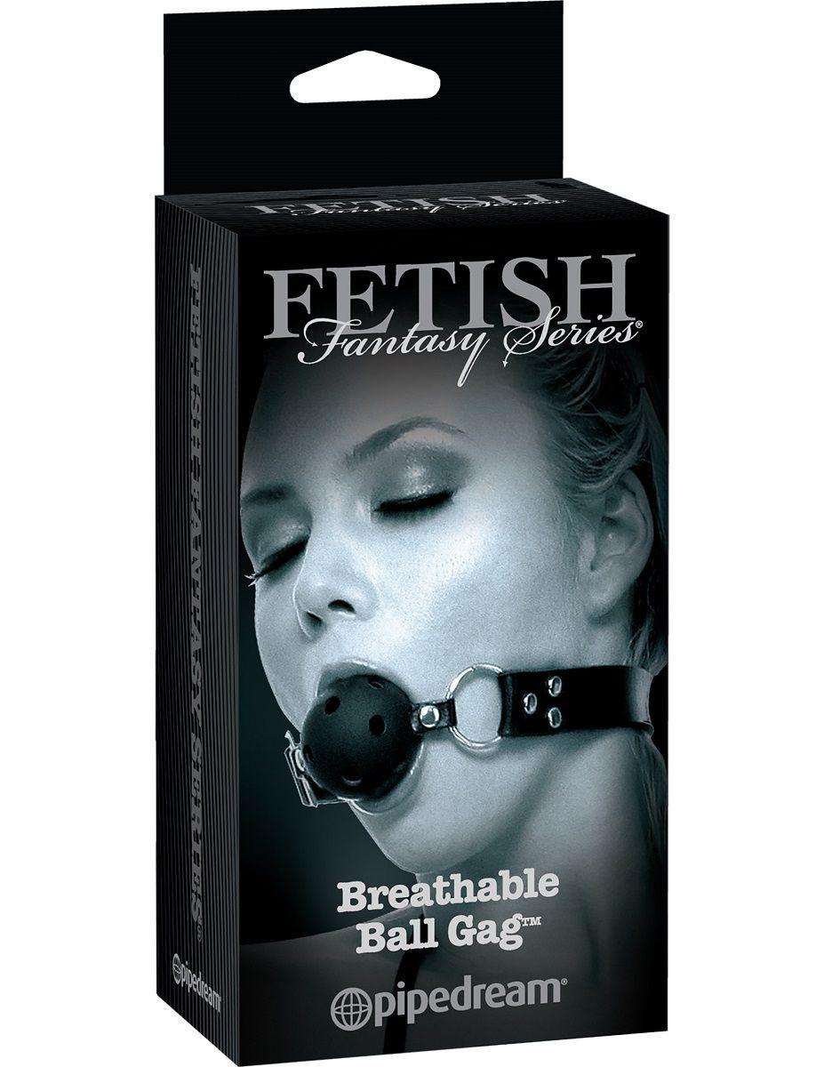 Черный кляп с дырочками Breathable Ball Gag - фото 131712