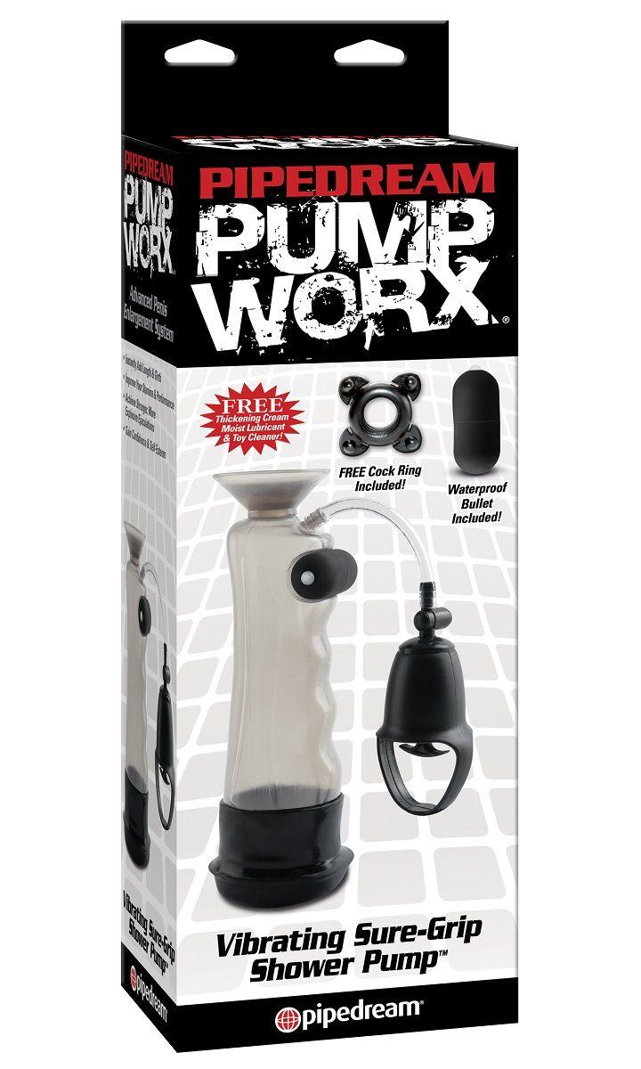 Водонепронецаемая вакуумная помпа с вибрацией и присоской Vibrating Sure Grip Shower Pump - фото 282839