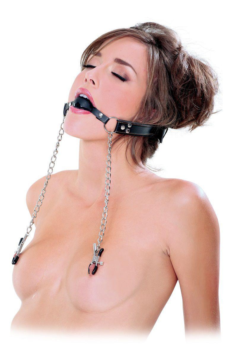 Кляп, соединенный цепью с зажимами для груди Deluxe Ball Gag   Nipple Clamps - фото 294114