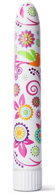 Нарядный вибромассажер с цветочным рисунком по всей длине,15.2 см - фото 239861