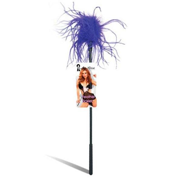 Ласкающая палочка с перьями фиолетового цвета - фото 413430