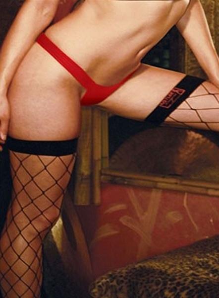 Комфортные трусики-танга из кожи на широкой резинке - фото 99450
