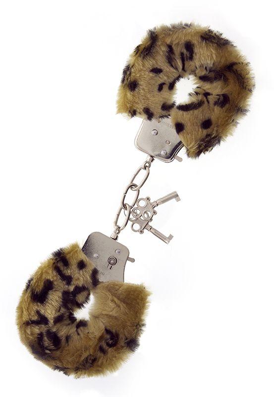 Леопардовые наручники METAL HANDCUFF WITH PLUSH LEOPARD - фото 7549
