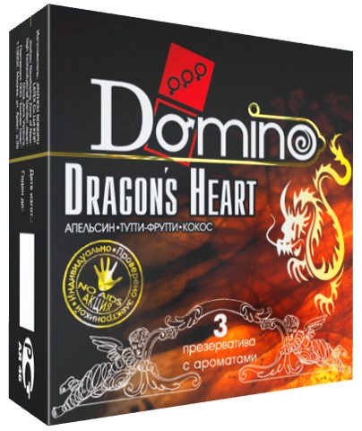 Ароматизированные презервативы Domino Dragon's Heart  - 3 шт.