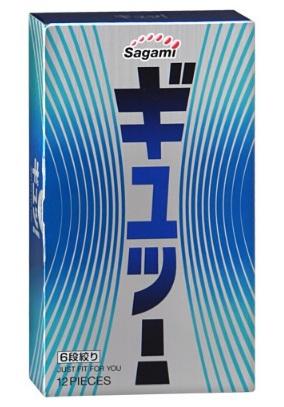 Фиолетовые презервативы Sagami 6 FIT V с волнообразной текстурой - 12 шт.