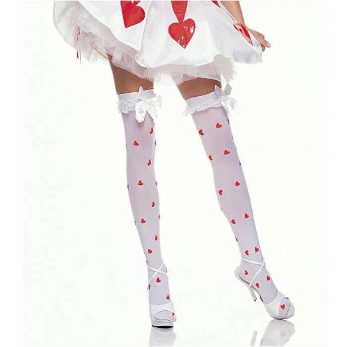 Белоснежные чулки с маленькими сердечками и бантами - фото 706621