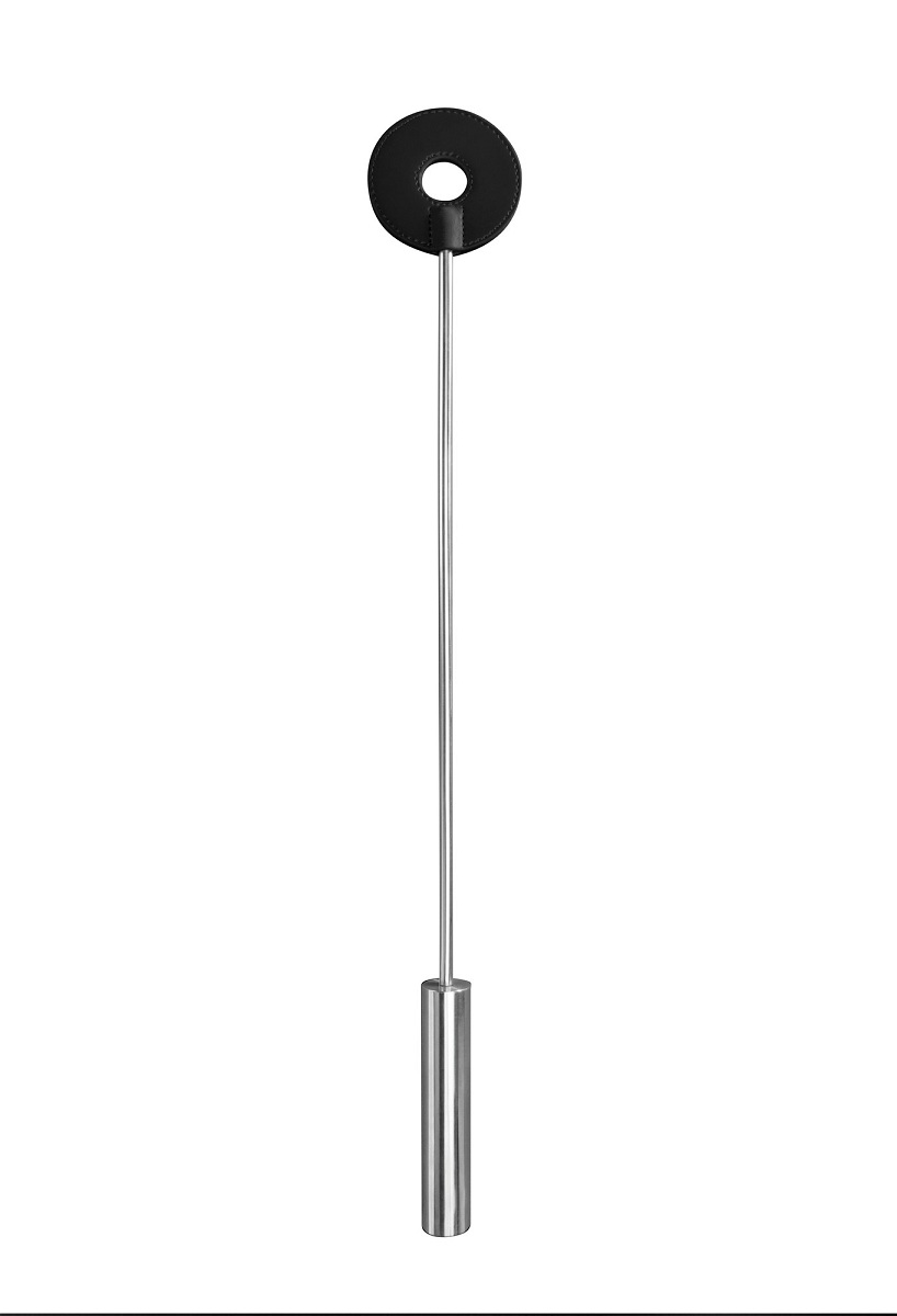 Чёрная шлёпалка Leather Circle Tiped Crop с наконечником-кругом - 56 см. - фото 519612