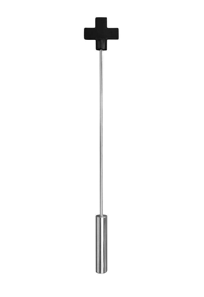 Чёрная шлёпалка Leather  Cross Tiped Crop с наконечником-крестом - 56 см. - фото 294919