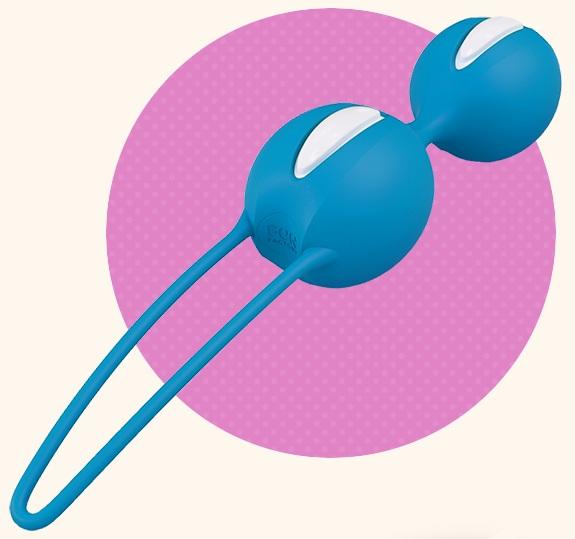 Ярко-голубые вагинальные шарики Smartballs Duo - фото 707401