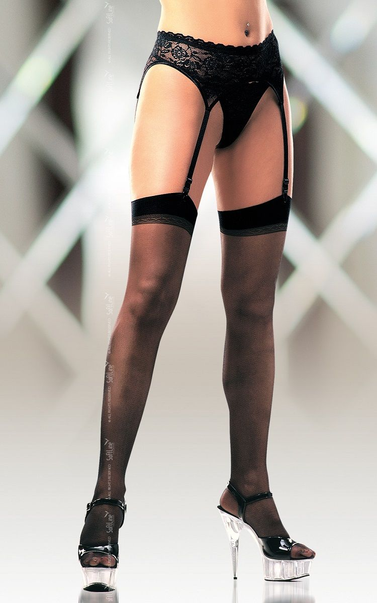 Классические чёрные чулки с гладкой резинкой - фото 7983