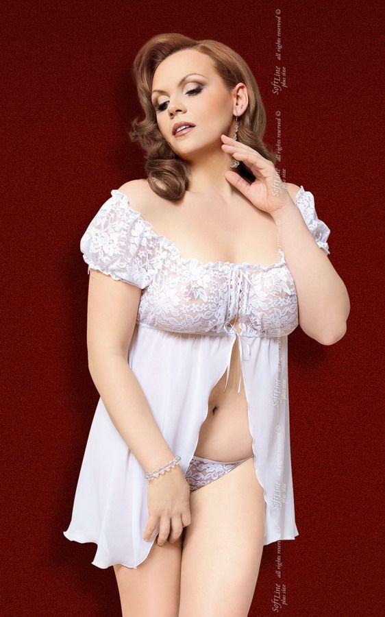Шифоновая сорочка Josephine с кружевными вставками и трусиками-стринг - фото 707557