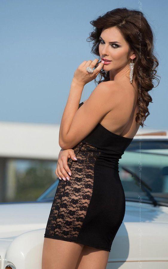 Платье без бретель со стразами на бюсте и кружевными боками - фото 132678