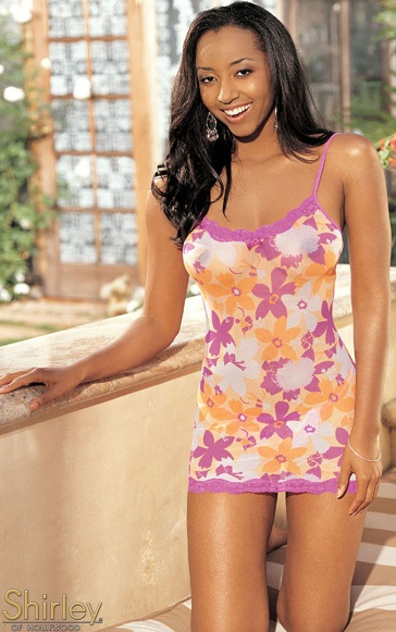 Эластичное платье-сорочка с тропическим рисунком и кружевом - фото 210728