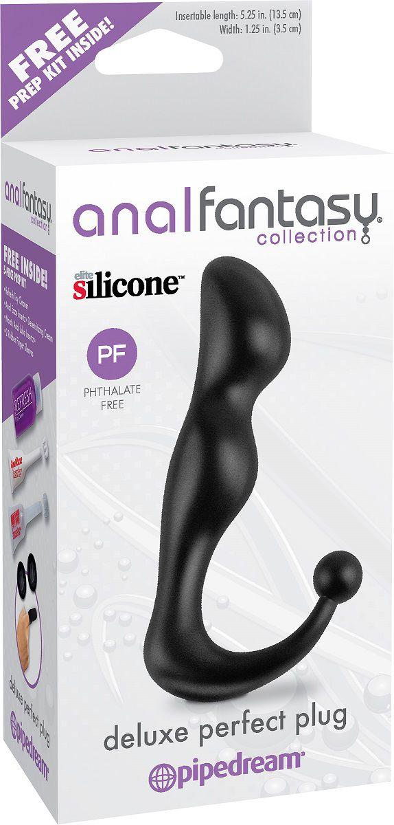 Чёрный С-образный анальный стимулятор Deluxe Perfect Plug - 14 см. - фото 133003