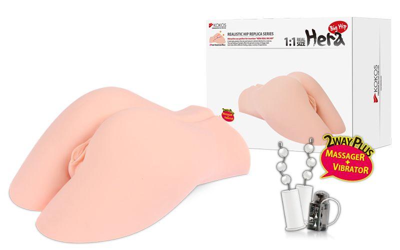 Мастурбатор-полуторс Hera Big Hip с вибрацией, вращением и голосом - фото 180987