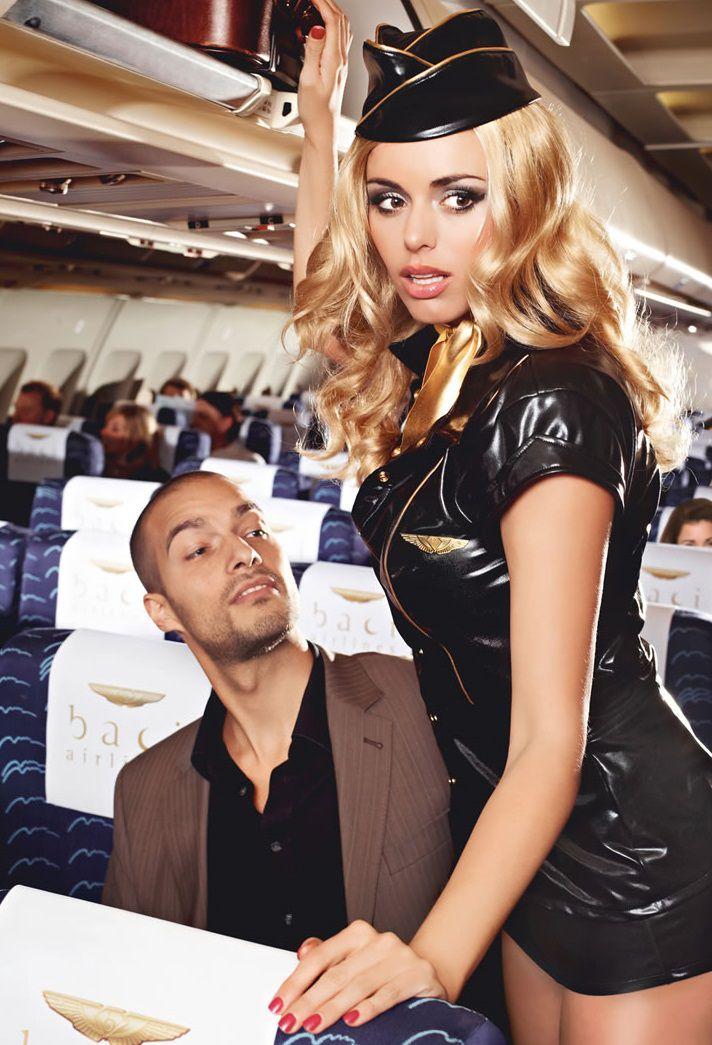 Игровой костюм обольстительной стюардессы: пиджак, мини-юбка, значок, галстук и пилотка - фото 708395