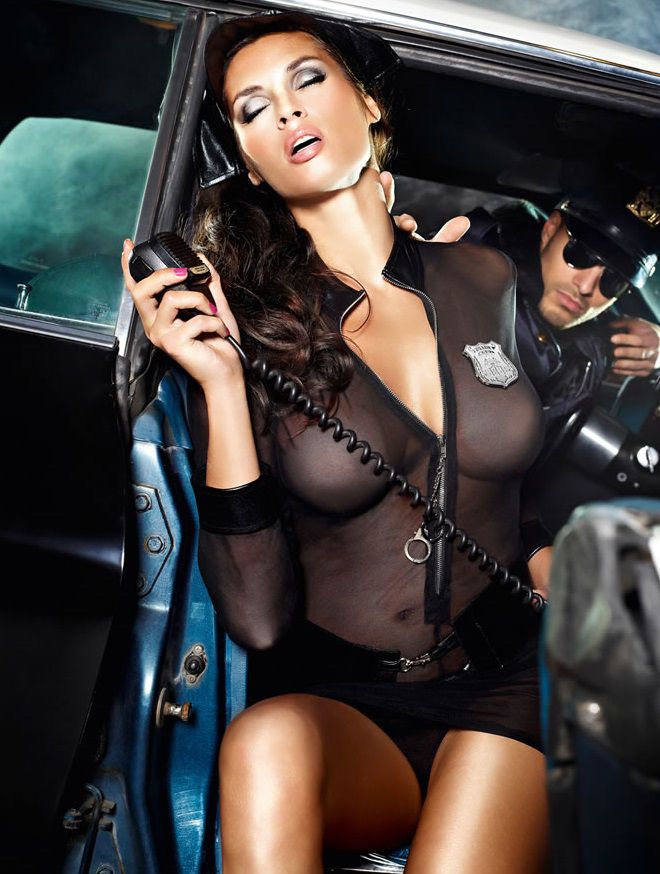 Игровой костюм  Полиция нравов : рубашка, трусики, пояс, значок и фуражка - фото 211162