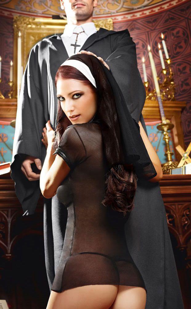 Игровой костюм очаровательной монашки: мини-платье и головной убор - фото 708465