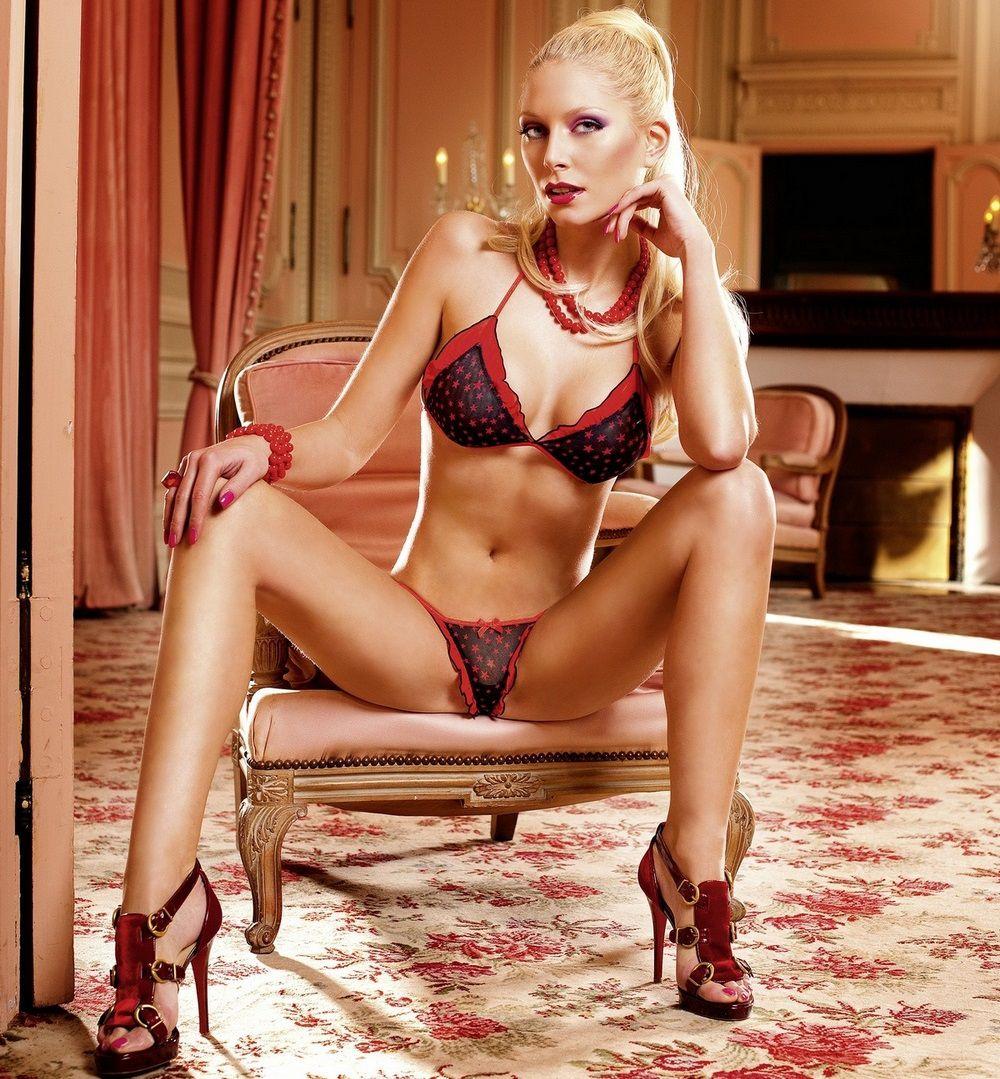 Красно-чёрный комплект белья Barbie с рюшами - фото 521730